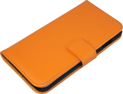 Galaxy S7 edge Case Classic Leder orange Seite
