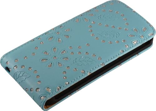 Apple iPhone 5 / 5s Flip Case Diamant blau