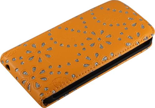 Apple iPhone 5 / 5s Flip Case Diamant orange
