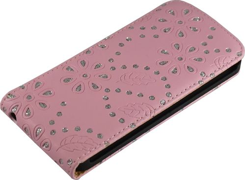 Apple iPhone 5 / 5s Flip Case Diamant pink