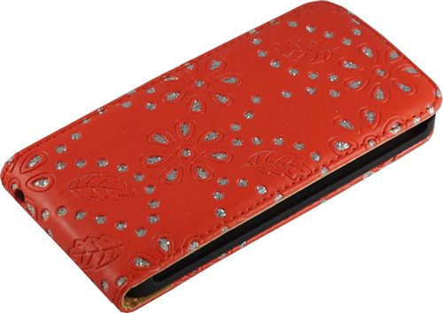 Apple iPhone 5 / 5s Flip Case Diamant rot