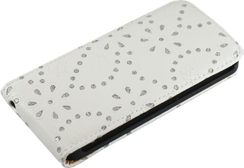 Apple iPhone 5 / 5s Flip Case Diamant weiss